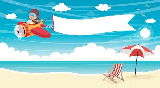 Векторная иллюстрация фона летнего пляжа