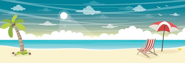 夏のビーチの背景のベクトル図