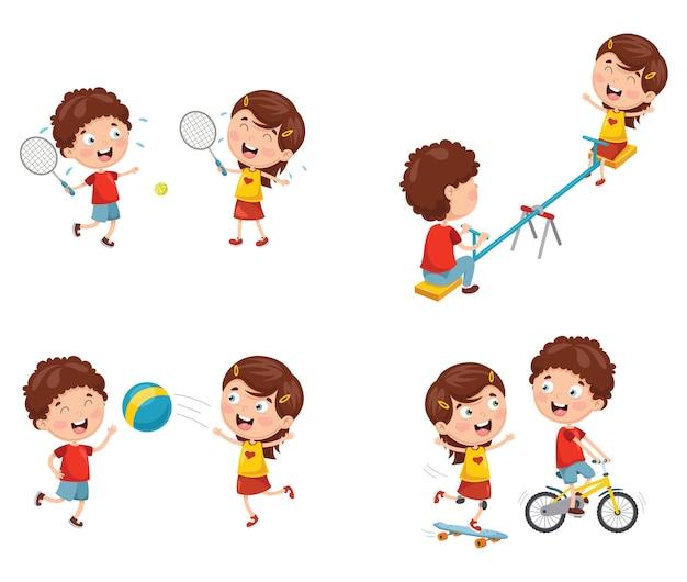 Векторная иллюстрация детей, играющих