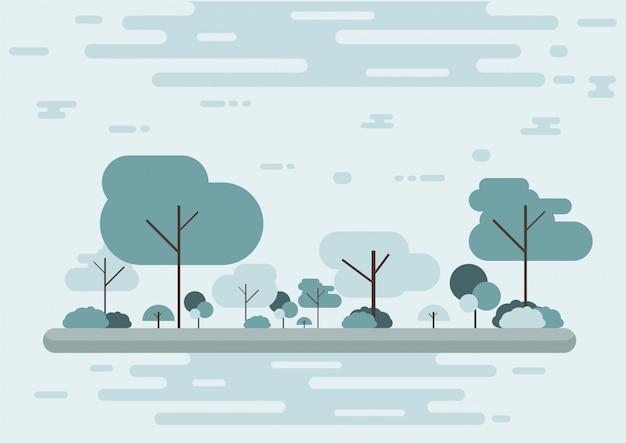漫画の木の冬の季節と公園の街