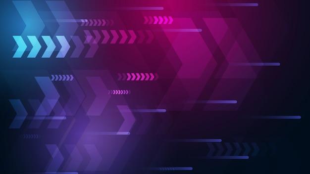 カラフルな背景を持つネオン矢印速度と技術データロードの概要