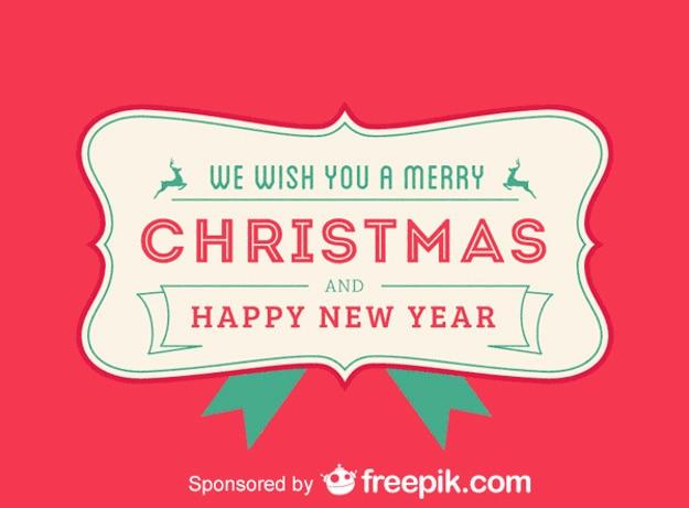 メリークリスマスと私たちはあなたに幸せな新年赤い背景を望む