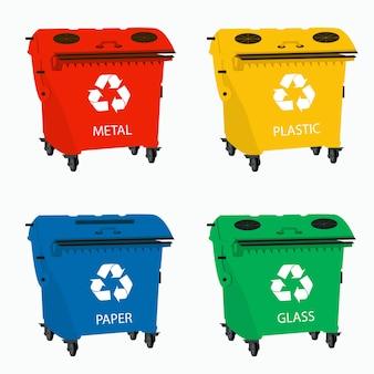 廃棄物をリサイクルするための大きなコンテナ