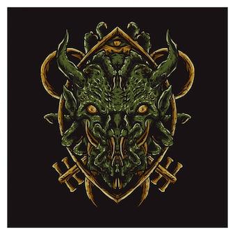 Рубцовое зеленое лицо монстра
