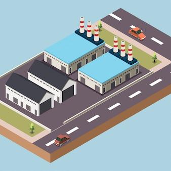 Завод или промышленная зона в городе