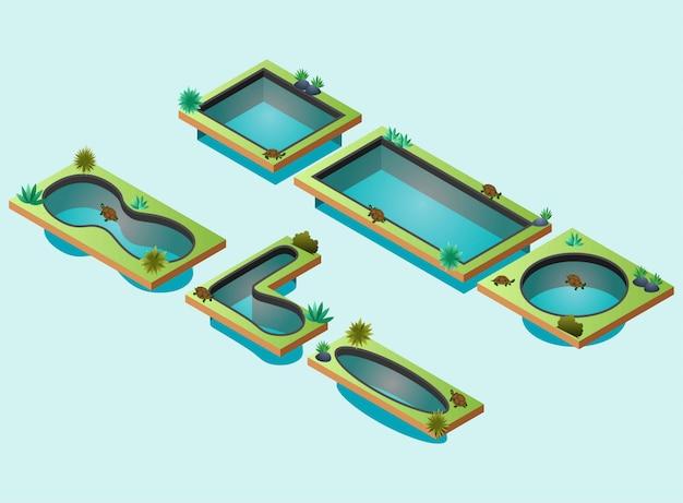 Черепаховые пруды с различными формами, изометрии