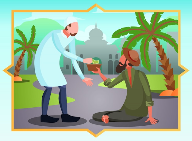 Мусульманин дает милостыню нуждающемуся нищему в рамадан
