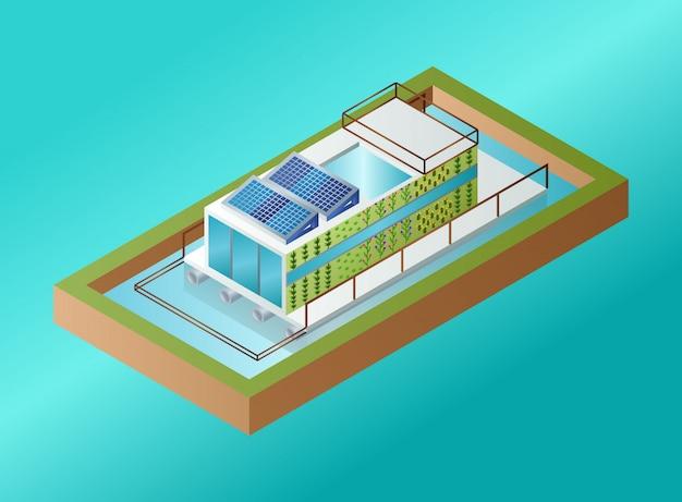 Фермерство по выращиванию морских водорослей, биореактор водорослей, вертикальное фермерство, плавающее на воде - изометрическая иллюстрация