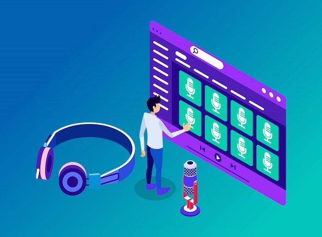 Человек, имеющий доступ к каналам подкаста и его содержимому для прослушивания через наушники - изометрическая иллюстрация
