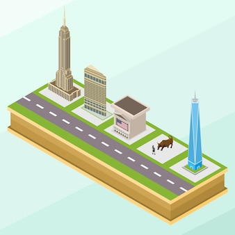 Изометрические уолл-стрит ориентиры или здания