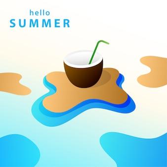 Привет лето фоновой иллюстрации
