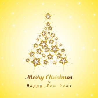 ゴールデンクリスマスツリーと新年あけま