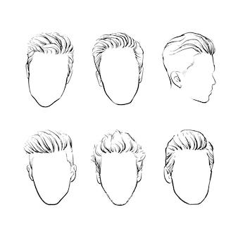 ヒップスターファッションの男の髪のベクトルセット