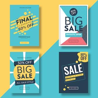 フラットデザイン販売チラシ&広告バナーのテンプレート