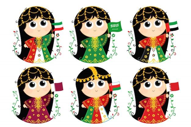 Флаги совета сотрудничества стран залива: кувейт, саудовская аравия. объединенные арабские эмираты, катар. оман и бахрейн