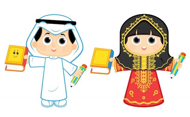 学校に戻るアラブの男の子と女の子
