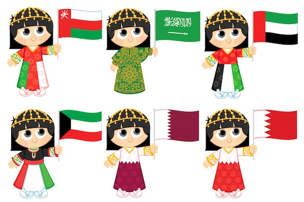 Флаги совета сотрудничества стран залива (оман, саудовская аравия, объединенные арабские эмираты, кувейт, катар и бахрейн)
