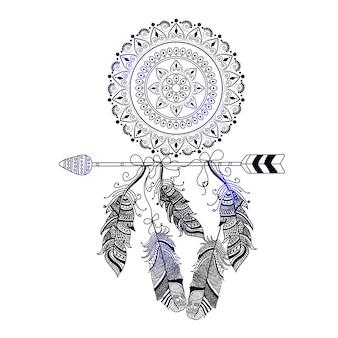 Рисованный бохо стиль декоративной стрелки с перьями