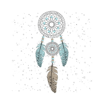 バックグラウンドを持つ手描きの夢のキャッチャーの羽根