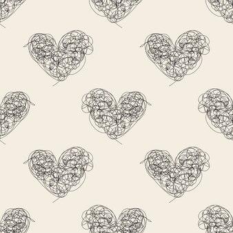 Бесшовные монохромный абстрактный рисованной сердца шаблон фон