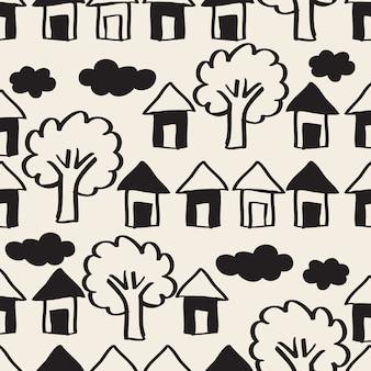 シームレスなモノクロ手描きの村、家、空と木のパターンの背景