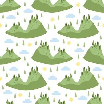 Бесшовные рисованной зеленый форрест остров шаблон на белом фоне