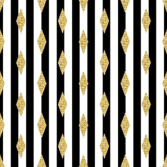 ストライプの背景にシームレスな金色の菱形のパターン