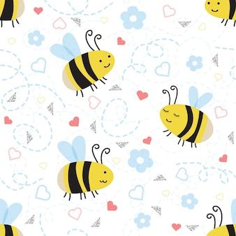 白い背景に色とりどりの光るパターンとシームレス手描きの蜂