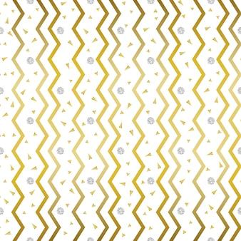 Бесшовный золотой зигзаг шаблон с конфетти серебро и золото блеск фон