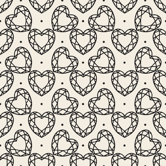 心臓の形をしたシームレスなモノクロのダイヤモンドパターンの背景