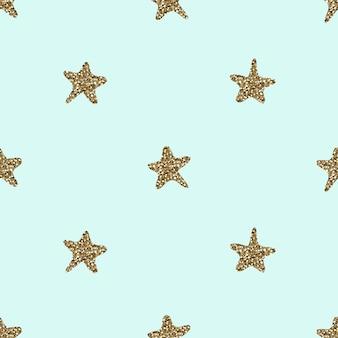 シームレスな手の金の輝きの星の形のパターンの背景を描画