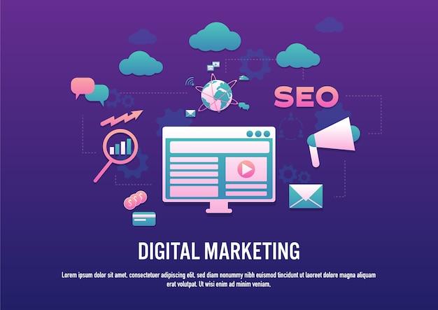 Плоский дизайн вектора концепции цифрового маркетинга