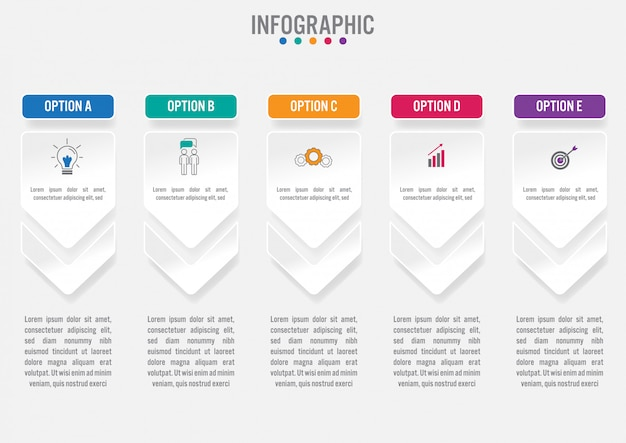 Бизнес инфографики шаблон с пятью вариантами