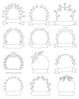 手描き花柄ラウンドフレームセット