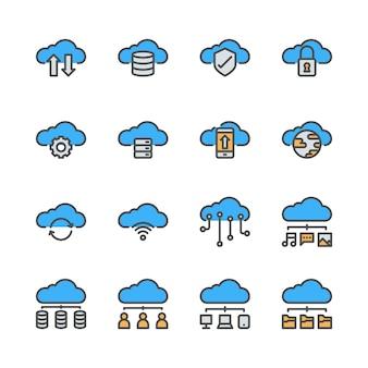 Облачные технологии значок набор в дизайне цвет линии.