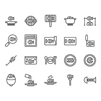 Приготовление рыбы и набор иконок, связанных с едой