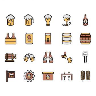 Пиво и алкоголь, связанные значок и набор символов