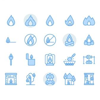 Набор иконок, связанных с огнем