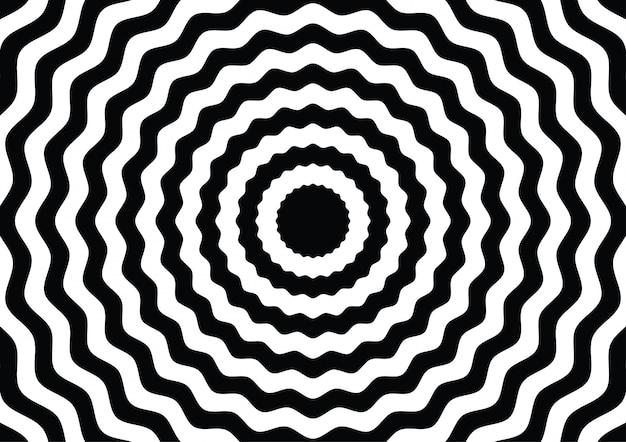 Волновая линия круга черно-белого оптического обмана