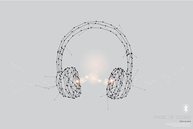 粒子、幾何学的芸術、ヘッドフォンの線と点。