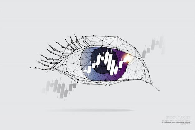 粒子、幾何学的芸術、目とグラフの線と点。
