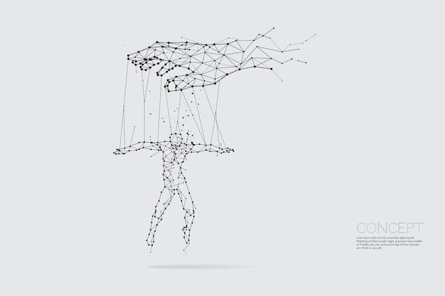 人間を支配する手の粒子、幾何学的な芸術、線および点。
