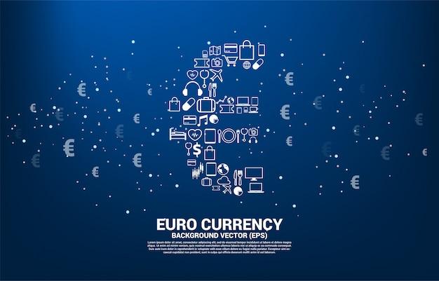 複数のアイコンからベクトルお金ユーロ通貨アイコン。ユーロ圏デジタル金融ネットワーク接続のための概念。