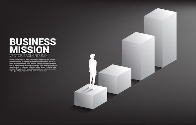 棒グラフの上に立っている実業家のシルエット。キャリアとビジネスのレベルを上げる準備ができている人々の概念。