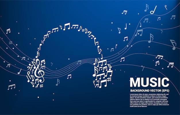 音楽メロディーノート形のヘッドフォンのアイコン。