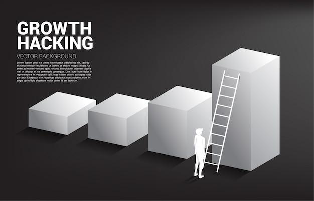 はしごで棒グラフの上に移動する準備ができているビジネスマンのシルエット。