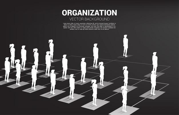 Силуэт бизнесмена и коммерсантки стоя на организационной схеме.