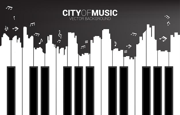 ピアノのキーの形をした大都市のアウトラインシルエット。クラシックソングイベントと音楽祭