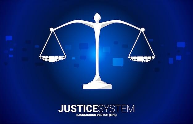 Шкала правосудия с речи пузырь. система социального суждения. шкала справедливости с группой речевого пузыря. фон концепция социальной системы суждений.