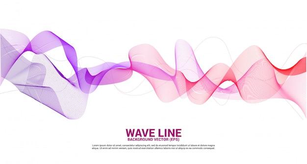 Фиолетовый красный звуковая волна линия кривой на белом фоне. элемент для темы технологии футуристический вектор
